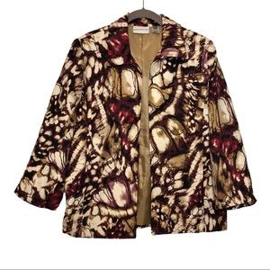 Alfred Dunner Printed Blazer, Gold Lining, Size 12